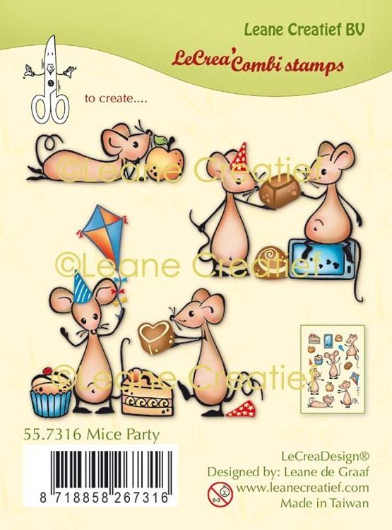 LeCreaDesign® combi clear stamp Muizen party