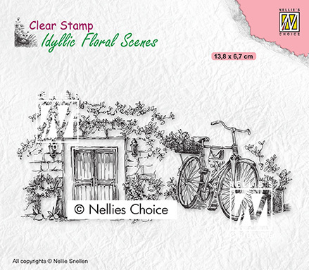 Clear Stamps Idyllic floral scenes Old door with bike
