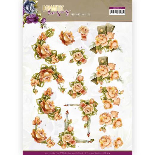 3D cutting sheet - Precious Marieke - Romantic Roses - Orange Rose
