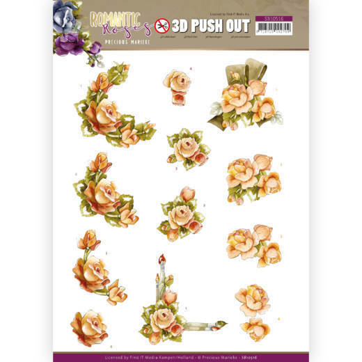 3D Push Out - Precious Marieke - Romantic Roses - Orange Rose