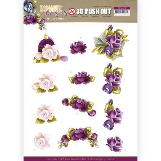 3D Push Out - Precious Marieke - Romantic Roses - Purple Rose