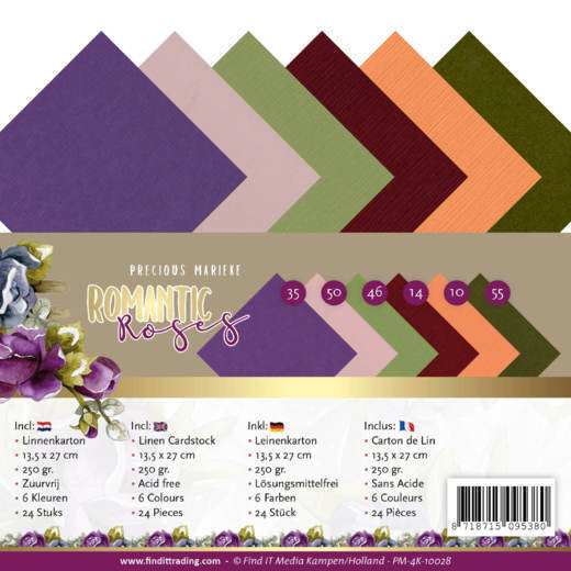 Linen Cardstock Pack - 4K - Precious Marieke - Romantic Roses