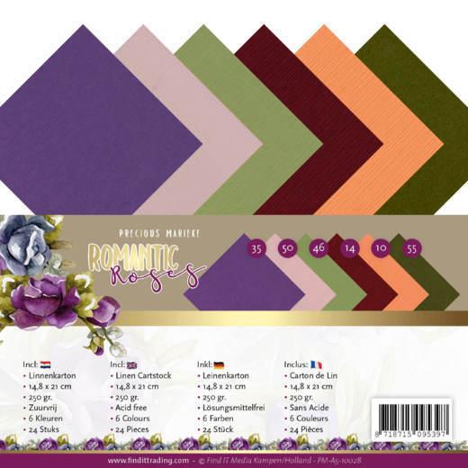 Linen Cardstock Pack - A5 - Precious Marieke - Romantic Roses