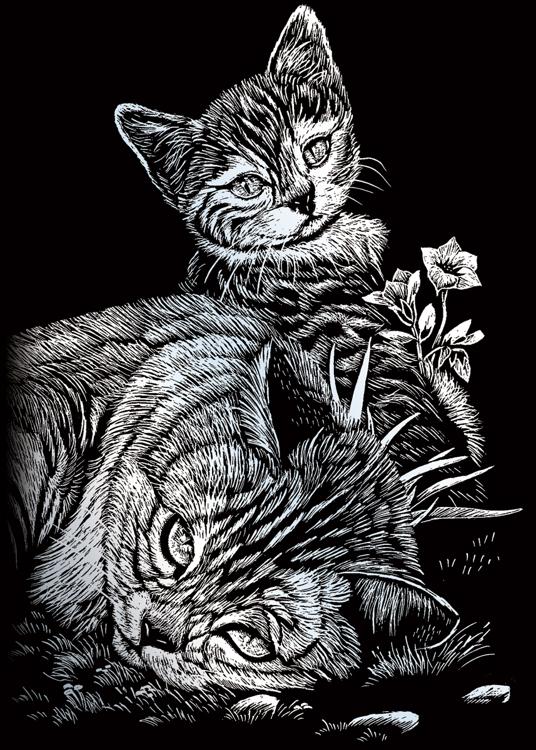 TABBY CAT & KITTEN SILVER MINI