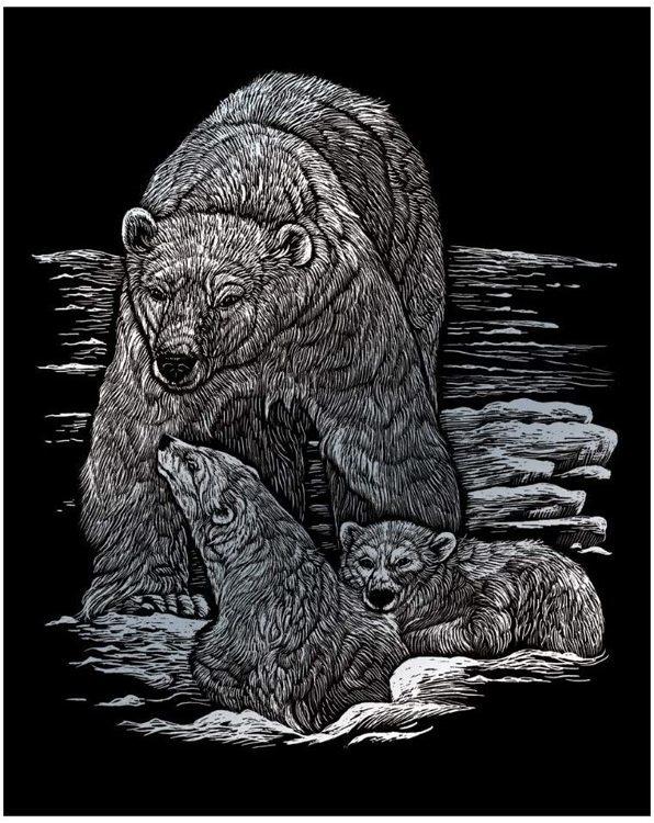SILVER ENGRAVING POLAR BEAR &