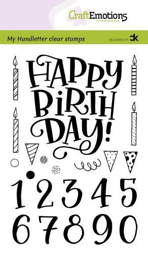 CraftEmotions clearstamps A6 - handletter - Happy Brithday & numbers (Eng) Carla Kamphuis (11-20)