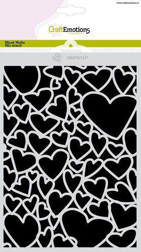 CraftEmotions Mask stencil Love Puns - harten A5 Carla Creaties (01-21)