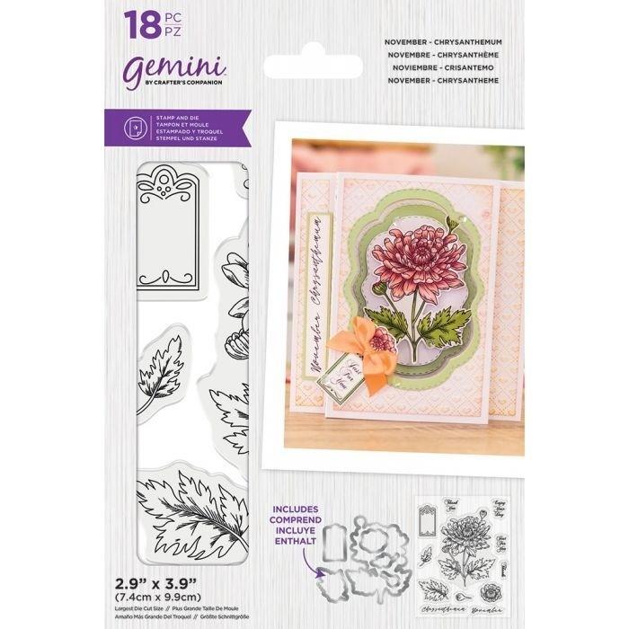 Gemini - Clearstamp&Snijmallen set - November - Chrysanthemum