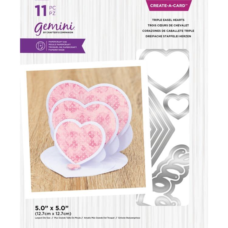 Gemini - Create A Card Snijmal - Triple Easel Hearts
