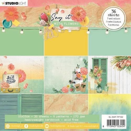 Studio Light Paper pad Pattern Paper Say it with flowers nr.162 SL-SWF-PP162 150x150mm (03-21)