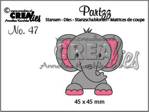Crealies Partzz Olifant CLPartzz47 45x45mm (02-21)