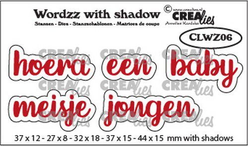 Crealies Wordzz with Shadow Hoera een baby (NL) CLWZ06 44x15mm (02-21)
