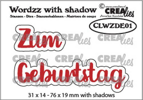 Crealies Wordzz with Shadow Zum Geburtstag (DE) CLWZDE01 76x19mm (02-21)
