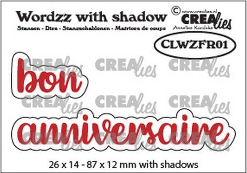 Crealies Wordzz with Shadow bon anniversaire (FR) CLWZFR01 87x12mm (02-21)