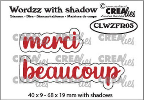 Crealies Wordzz with Shadow merci beaucoup (FR) CLWZFR03 68x19mm (02-21)