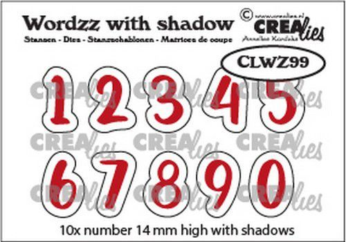 Crealies Wordzz with Shadow Cijfers CLWZ99 14mm (02-21)