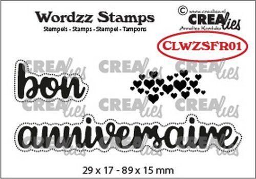 Crealies Clearstamp Wordzz bon anniversaire (FR) CLWZSFR01 89x15mm (02-21)