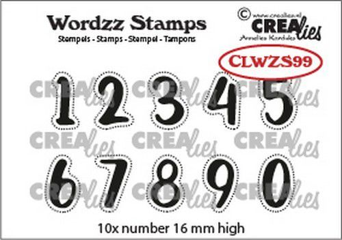 Crealies Clearstamp Wordzz Cijfers CLWZS99 16mm (02-21)