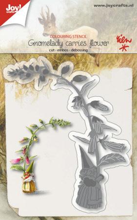 6002/1210 - Snij-kleurstencil - Kaboutervrouw draagt bloem