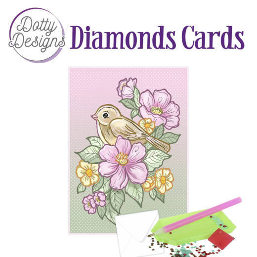 Dotty Designs Diamond Cards - Bird and Flowers