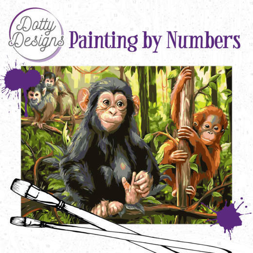 Dotty Designs Painting by Numbers - Monkeys