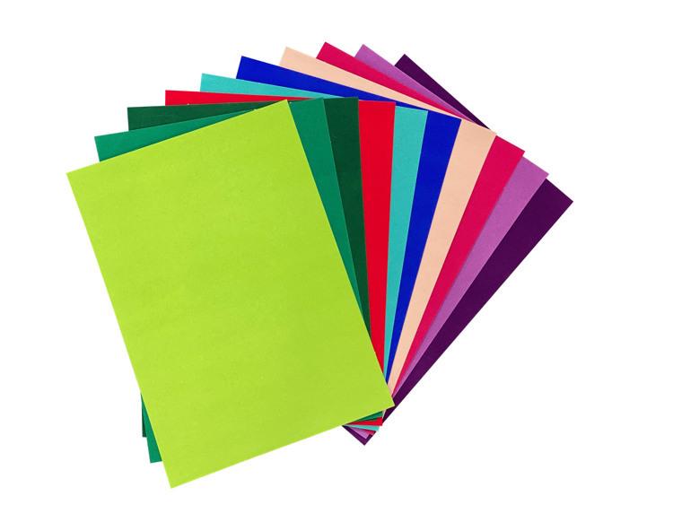 Fluweel Papier zelfklevend 10 vellen A4 Intensieve kleuren