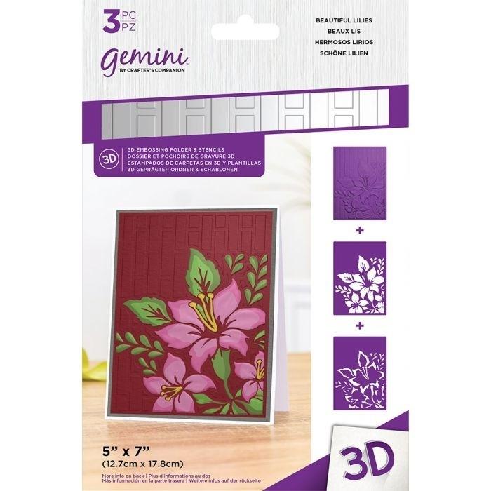 3D Embossing Folder & Stencil - Beautiful Lilies