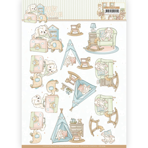 3D cutting sheet - Yvonne Creations - Newborn - Baby Rocking Horse