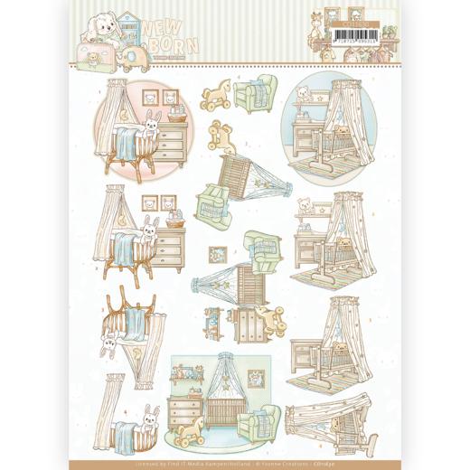 3D cutting sheet - Yvonne Creations - Newborn - Baby Cradle
