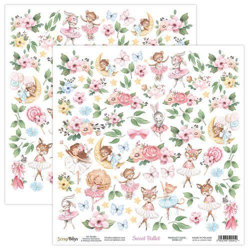 ScrapBoys Sweet Ballet paper sheet DZ SWBA-07 190gr 30,5x30,5cm (02-21)