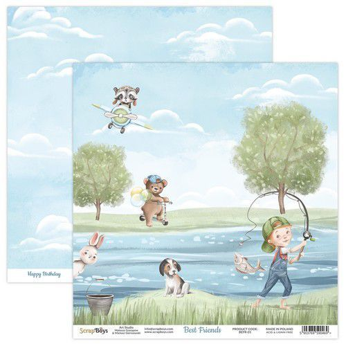 ScrapBoys Best Friends paper sheet DZ BEFR-01 190gr 30,5x30,5cm (02-21)