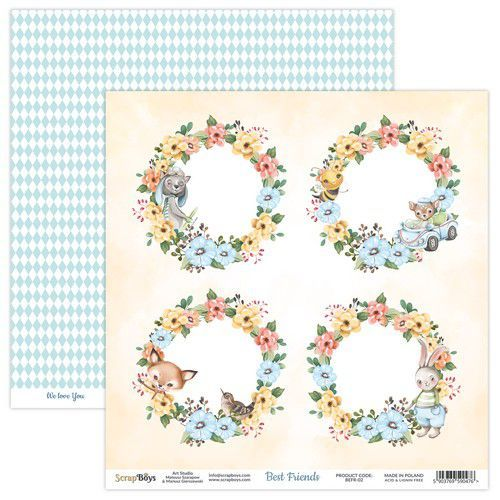 ScrapBoys Best Friends paper sheet DZ BEFR-02 190gr 30,5x30,5cm (02-21)