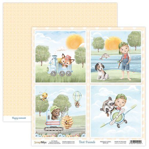 ScrapBoys Best Friends paper sheet DZ BEFR-04 190gr 30,5x30,5cm (02-21)
