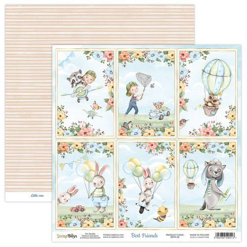 ScrapBoys Best Friends paper sheet DZ BEFR-06 190gr 30,5x30,5cm (02-21)