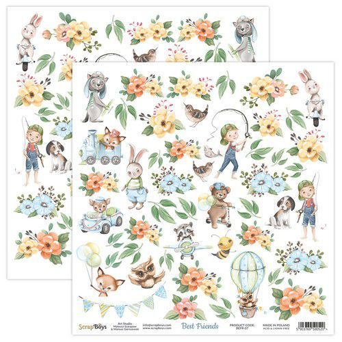 ScrapBoys Best Friends paper sheet DZ BEFR-07 190gr 30,5x30,5cm (02-21)