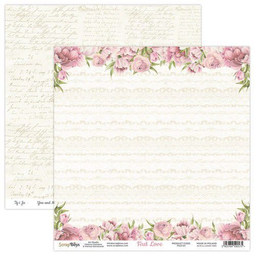 ScrapBoys First Love paper sheet DZ FILO-01 190gr 30,5x30,5cm (02-21)
