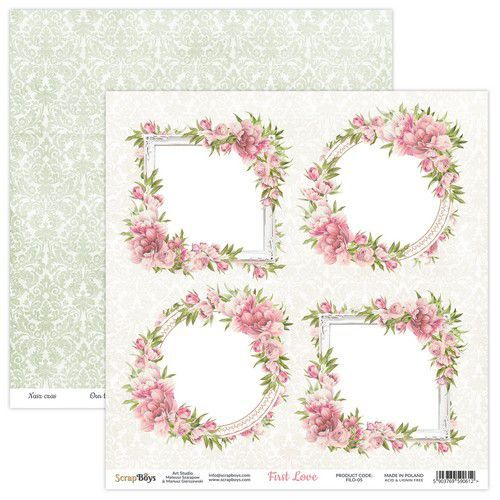 ScrapBoys First Love paper sheet DZ FILO-05 190gr 30,5x30,5cm (02-21)
