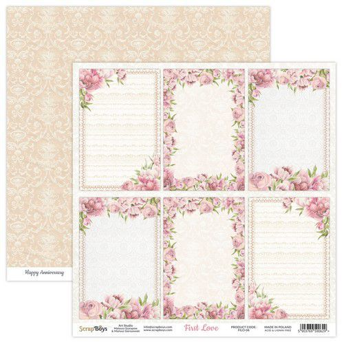 ScrapBoys First Love paper sheet DZ FILO-06 190gr 30,5x30,5cm (02-21)