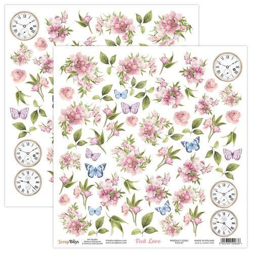 ScrapBoys First Love paper sheet DZ FILO-07 190gr 30,5x30,5cm (02-21)