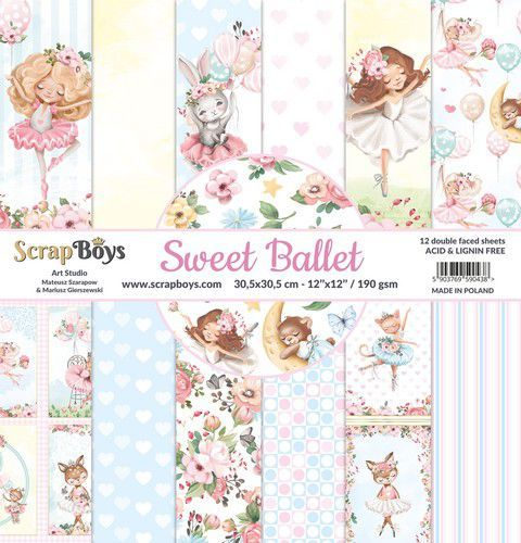 ScrapBoys Sweet Ballet paperset 12 vl+cut out elements-DZ SWBA-08 190gr 30,5x30,5cm (02-21)