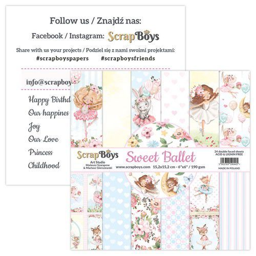 ScrapBoys Sweet Ballet paperpad 24 vl+cut out elements-DZ SWBA-09 190gr 15,2x15,2cm (02-21)