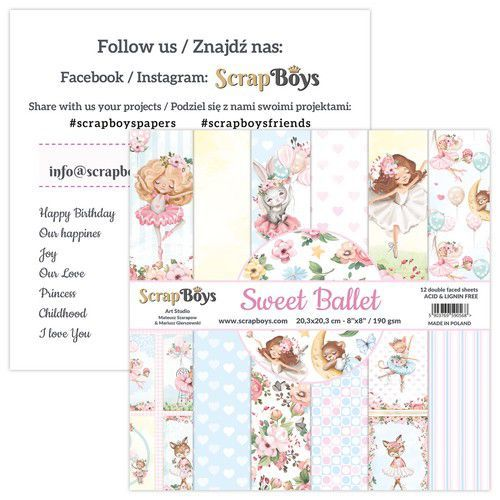 ScrapBoys Sweet Ballet paperpad 12 vl+cut out elements-DZ SWBA-10 190gr 20,3x20,3cm (02-21)