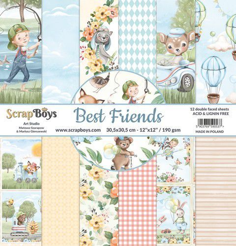 ScrapBoys Best Friends paperset 12 vl+cut out elements-DZ BEFR-08 190gr 30,5x30,5cm (02-21)