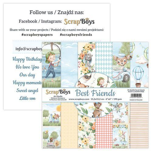 ScrapBoys Best Friends paperpad 24 vl+cut out elements-DZ BEFR-09 190gr 15,2x15,2cm (02-21)