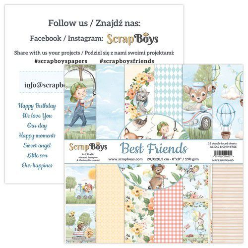 ScrapBoys Best Friends paperpad 12 vl+cut out elements-DZ BEFR-10 190gr 20,3x20,3cm (02-21)