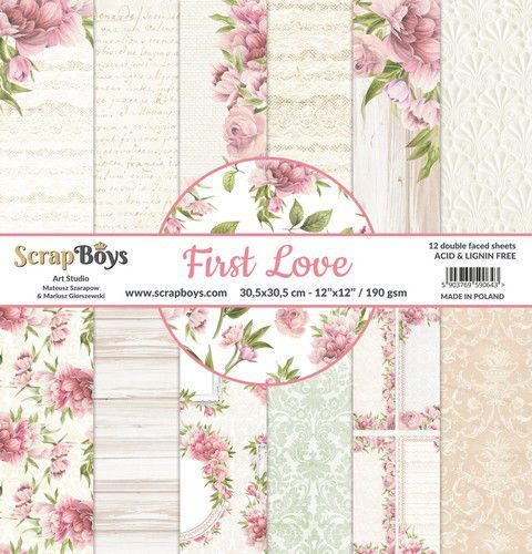 ScrapBoys First Love paperset 12 vl+cut out elements-DZ FILO-08 190gr 30,5x30,5cm (02-21)