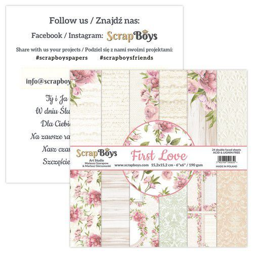 ScrapBoys First Love paperpad 24 vl+cut out elements-DZ FILO-09 190gr 15,2x15,2cm (02-21)