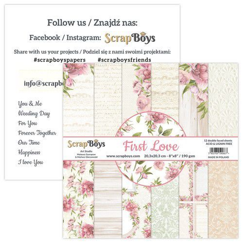 ScrapBoys First Love paperpad 12 vl+cut out elements-DZ FILO-10 190gr 20,3x20,3cm (02-21)