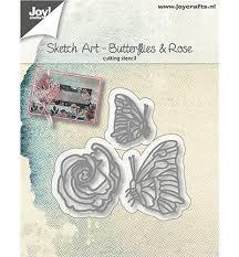 6002/1134 Snijstencils Sketch Art Vlinders en roos