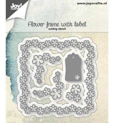 6002/1166 Snijstencils Bloemenframe met label